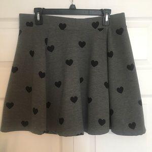 H&M heart print skater skirt